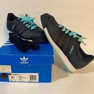 Women's Adidas Samoa 7.5 Black/Aqua